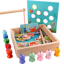 Childrens Wooden Toys Magnetic Games Fishing Children 3D Fish Baby Educational Outdoor