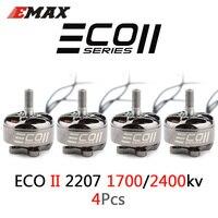 4 Uds integrado Emax ECO II serie 2207/1700/1900/2400KV 3-6S Motor sin escobillas 4mm cojinete del eje para RC aviones no tripulados de Quacopter FPV Racing