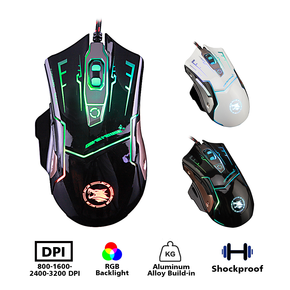 Professional Gaming Mouse DPI Adjustable Rgb Backlight 3200 DPI 6 Buttons Wired/pc/computer Mouse For Laptop Computer With Cable