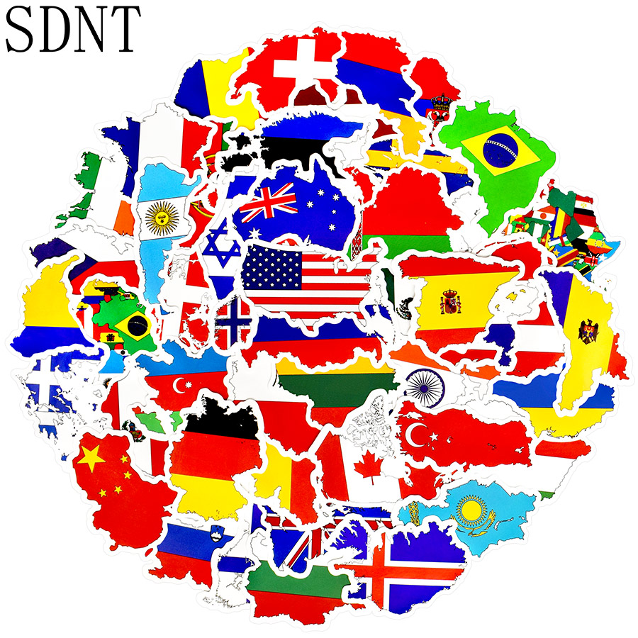 50 PCS National Flags Travel Stickers Toys Countries Map PVC Stickers For Children DIY Suitcase Laptop Car Skateboard Sticker