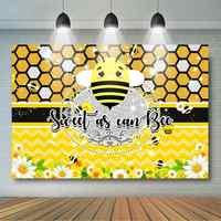 Fondo dulce como la abeja 7x5ft dulce Baby Shower cumpleaños decoración Honeycomb fondo amarillo