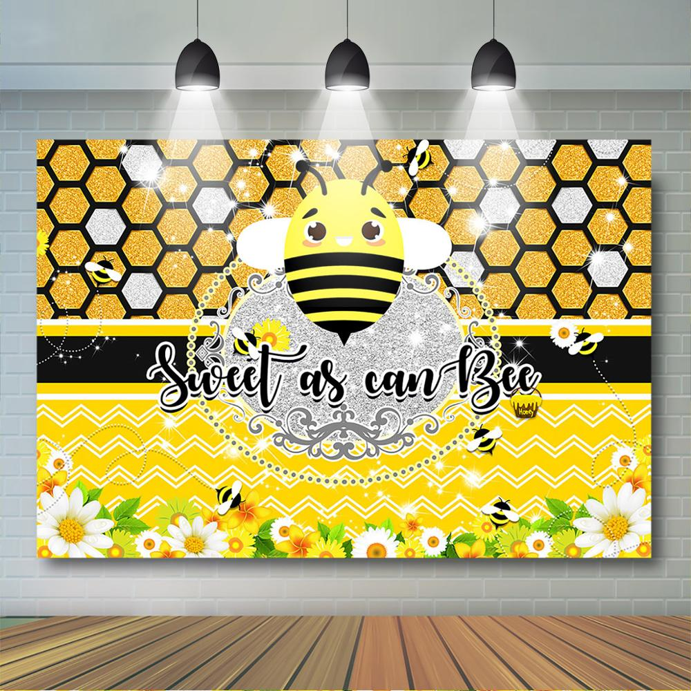 Sweet as Can Bee Backdrop Baby Shower Party Banner Photo Shooting Props BJZYST247 Honeycomb Photography Background 7x5ft//2.1x1.5m New Vinyl