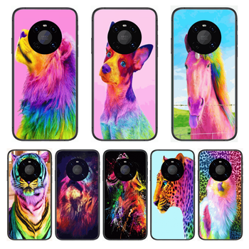 Shockproof Animal Colour Phone Case For Huawei mate 30 10 20 40 Lite Smart Z Pro Black Etui 3D Coque Painting Hoesjes case image