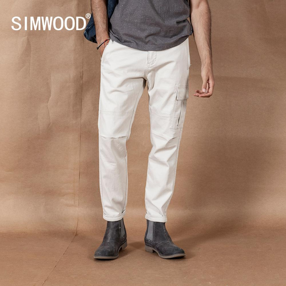 SIMWOOD 2019 Cargo Pants Men Pinstriped Fashion Hip Hop Streetwear Straight Style Trousers Plus Size Brand Clothing 190423