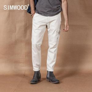 Image 1 - SIMWOOD 2020 pantalones Cargo hombres Pinstriped moda Hip Hop Streetwear pantalones de estilo recto más ropa de marca de tamaño 190423