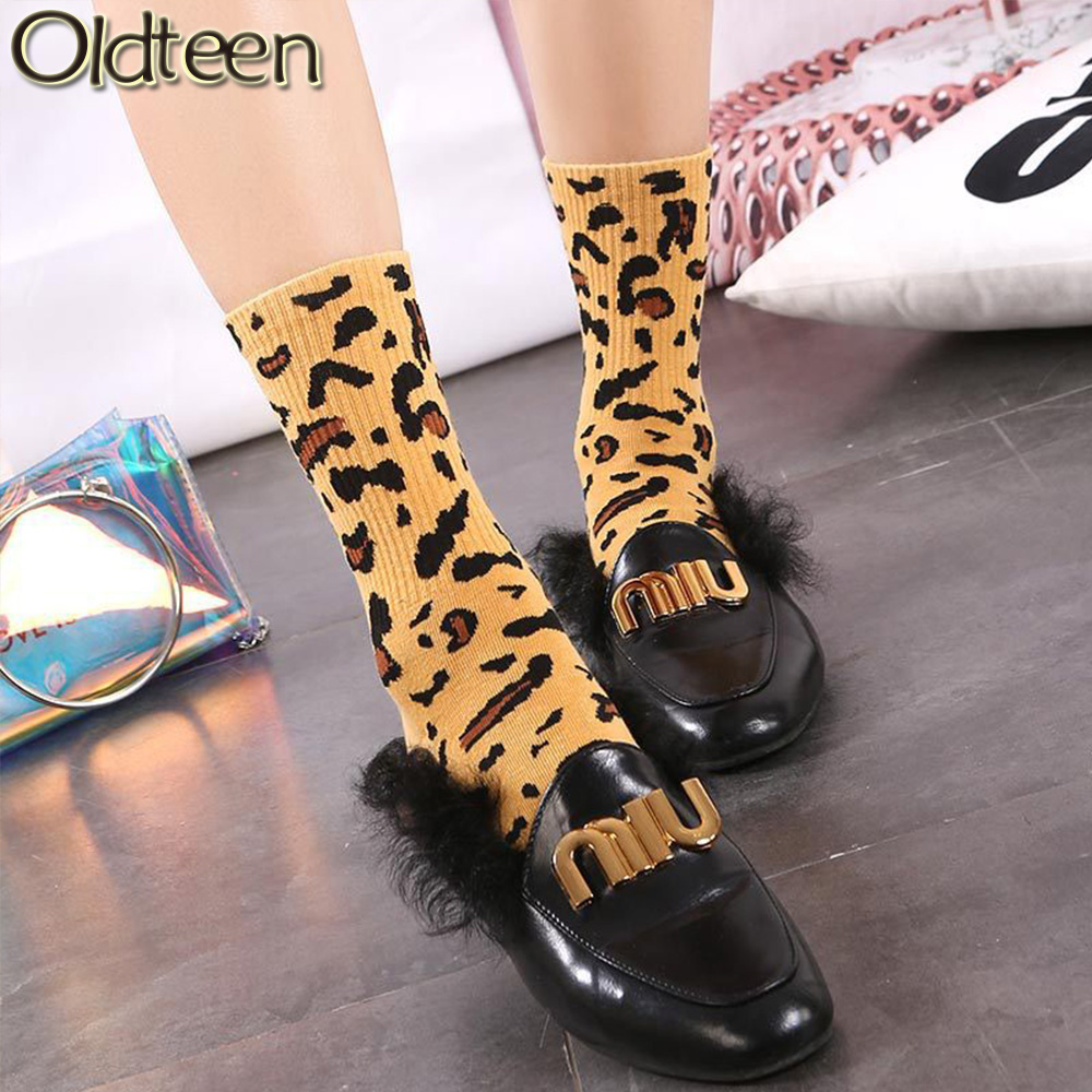 Stylish Classic Casual Leopard Socks Women New Hot Winter Harajuku Fashion Soft Novelty Cotton Women Socks Street Trend Style