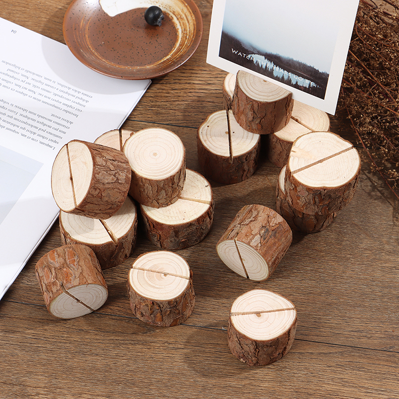 5PCS Natural Woode Pile Name Place Card Photo Holders Wooden Bark Memo Holder Memo Stand Wedding Party Table Decor