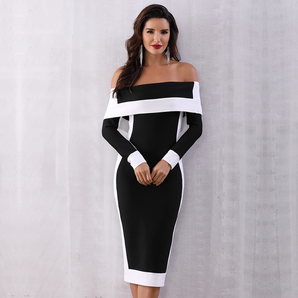 Image 2 - Seamyla New Long Sleeve Bodycon Bandage Dresses Women Vestidos  2019 Runway Party Dress Midi Celebrity Sexy Clubwear Dress SlimDresses