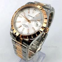 цена Parnis 39mm mens watch rose gold case sapphire crystal silver dial date window miyota automatic movement mens watch gift онлайн в 2017 году