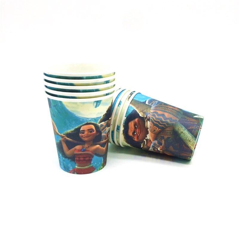 Disney 81/51 шт. на день рождения одноразовый набор мультфильм Моана вечерние украшения одноразовые детские салфетки чашки вечерние поставки детского дня рождения-2