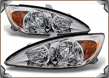 Sulinso fit for Toyota-Camry LE SE XLE Chrome Clear Headlights Front Lamps Replacement Left + Right Pair set