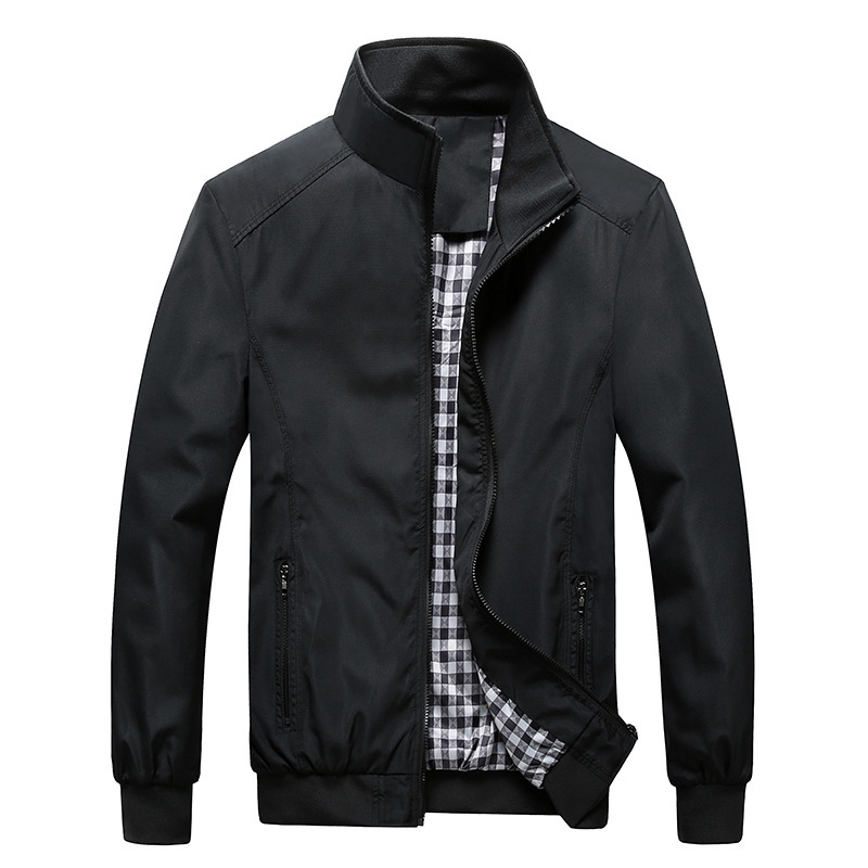 Quality Bomber Solid Casual Jacket Men Spring Autumn Outerwear Mandarin Sportswear Mens Jackets for Male Coats M 5XL 6XL 7XL