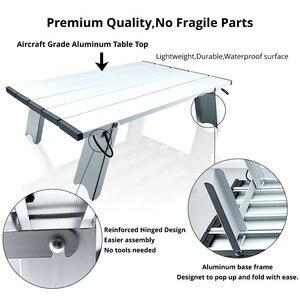 Image 4 - رائجة البيع المحمولة طوي طاولة قابلة للطي مكتب التخييم في الهواء الطلق نزهة 6061 سبائك الألومنيوم خفيفة للغاية للطي مكتب