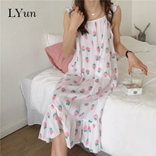 LYun 2019 spring and summer new cotton nightdress female thin printed home service