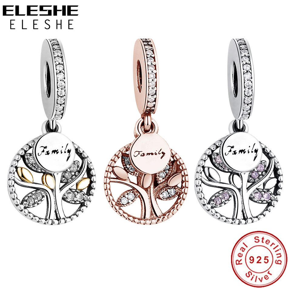 ELESHE 925 Sterling Silver Family Tree Of Life Pendant Charm Crystal Beads Fit Original Charm Bracelet Silver 925 Jewelry Making