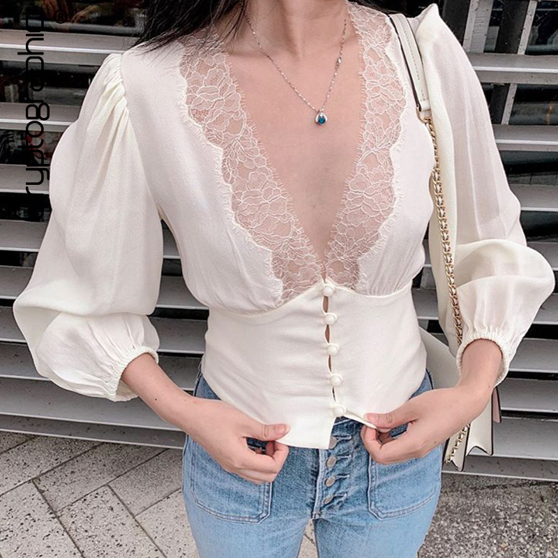Cryptographic Lantern Sleeve Lace Top And Blouse Shirts Women 2020 Spring Fashion Button Sexy V-Neck Shirt Blouses Tops Elegant