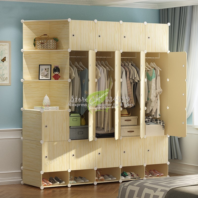 5%Bedroom Furniture Storage/plastic Cabinet Wardrobe Closet Steel Skeleton Kids/non Woven Wardrobe Assembly Simple And Easy