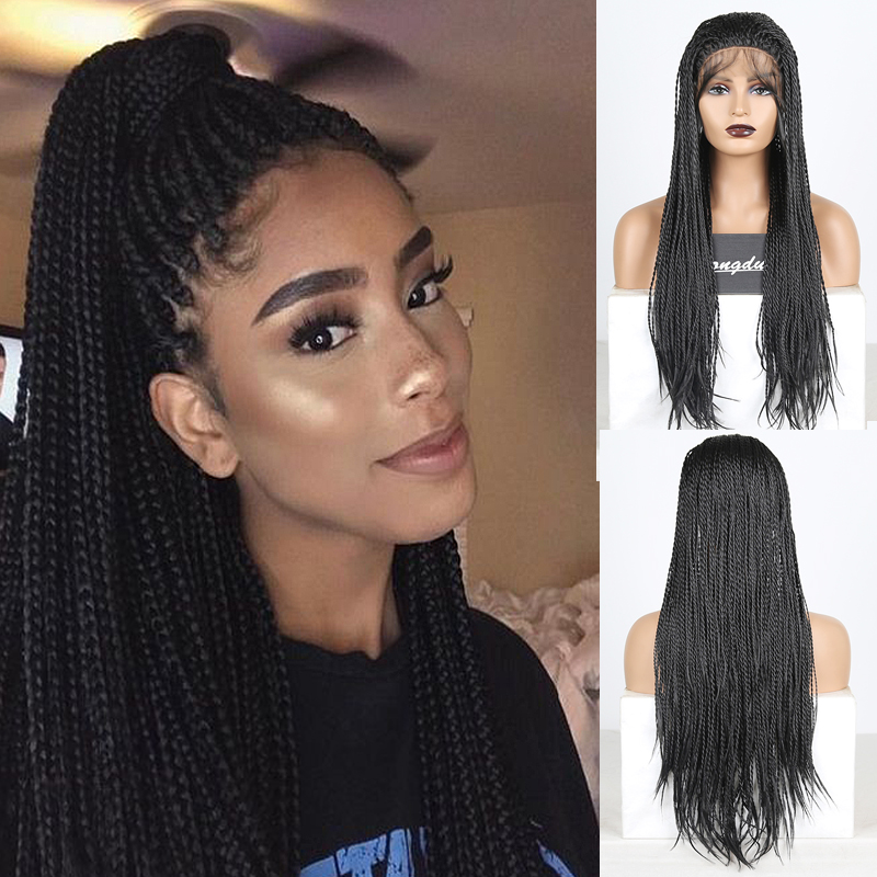 RONGDUOYI Long 2X Twist Braided Lace Wigs For Women Free Part Synthetic Lace Braids Wig Heat Resistant Fiber Hair Cosplay Wigs