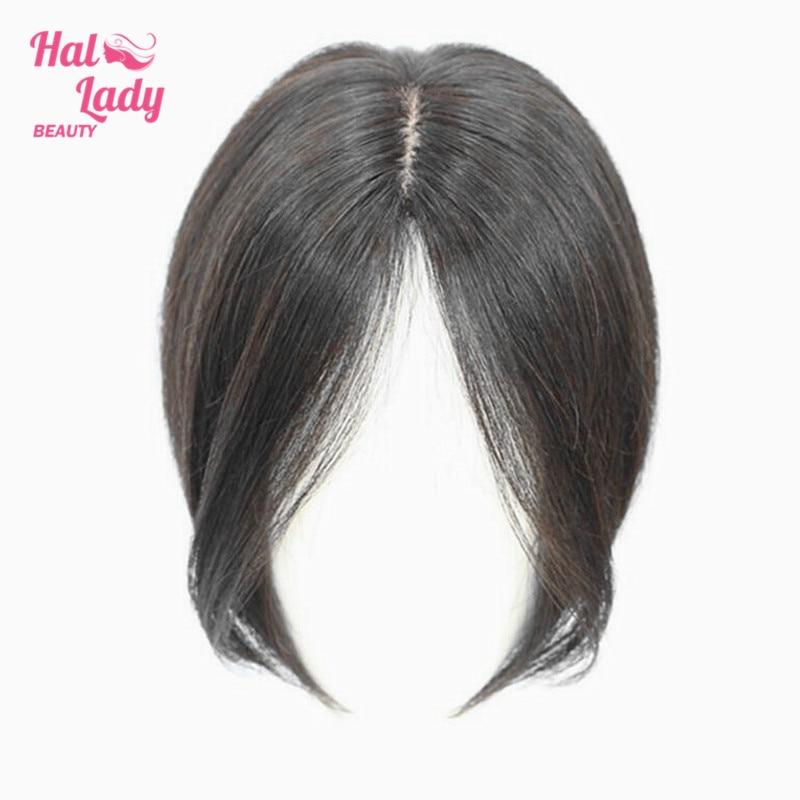 Челка из человеческих волос Halo Lady, прямые бразильские волосы средней длины без повреждений для выпадения волос