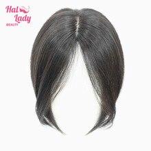 Auréola senhora beleza clipe no cabelo humano franja cabelo peças do meio parte brasileira reta não remy cabelo para a perda de cabelo