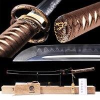 Brandon Swords Real Sharp Samurai Katana Hand Forged Full Tang Japanese Sword Polished Clay Tempered with Horn Fitting Saya