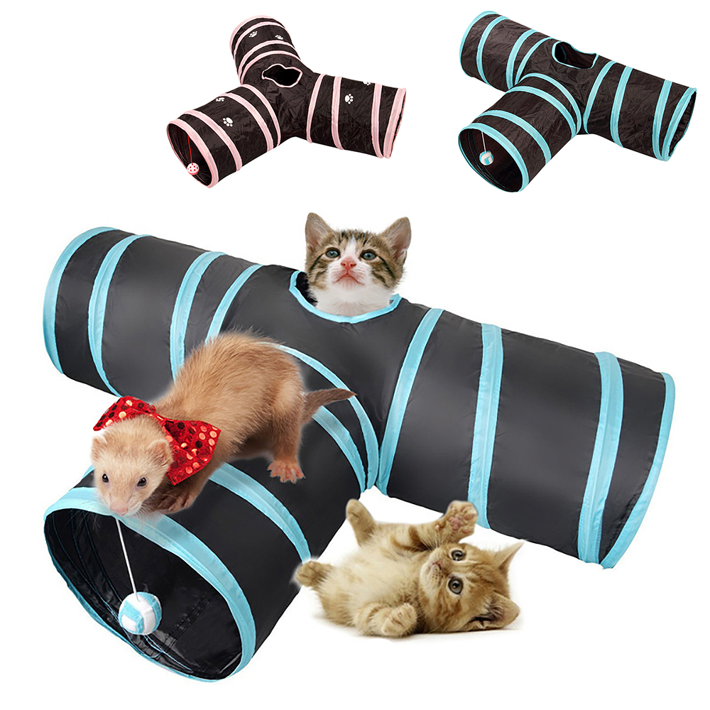 Cat Toys Pet Collapsible Tunnel Toy Y Shape Collapsible Cat Cube Kitten Indoor Outdoor Toys Pet Supplies Foldable Pet Toy image