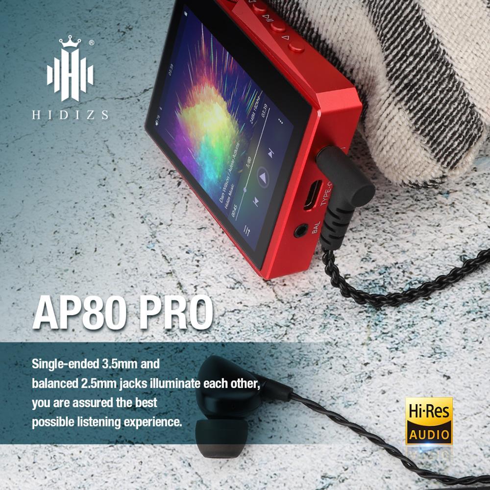 Hidizs AP80PRO HiFi dual ESS9218 MP3 Bluetooth Music Player With Touch Screen Portable FLAC LDAC USB DAC DSD 64/128 FM Radio DAP