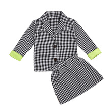 Pudcoco 2 Piece Blazer Skirt Suit Formal Single Breasted Plaid Printed Turn-down Notched Collar Fashion Sets
