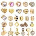 2 шт./лот, подвеска золотого цвета с бусинами, оригинальный бренд, браслеты для женщин и детей, сделай сам, рождественский подарок, ювелирное ...