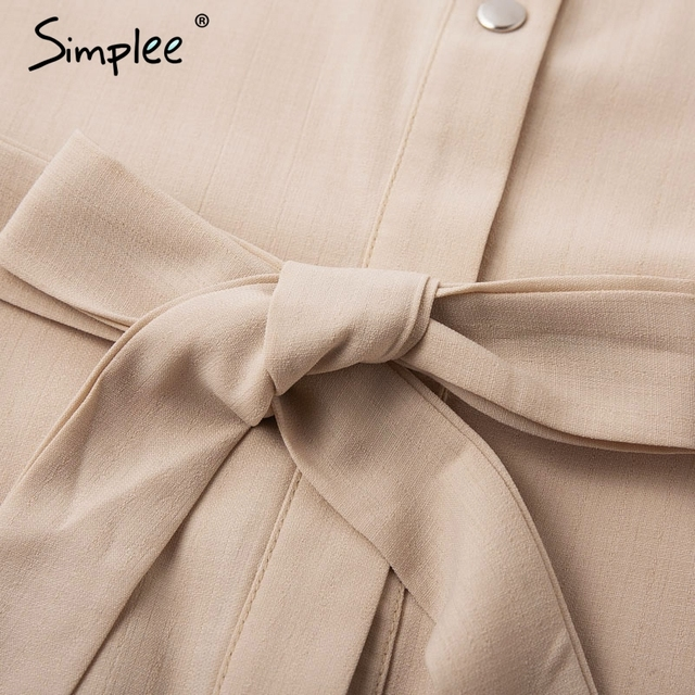 Simplee Elegant lace mesh embroidery women A-line dress Long sleeve button office ladies dresses Solid sashes summer shirt dress 4