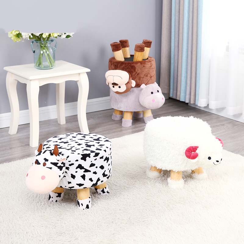 H1 Creative Stool Fashion Small Bench Children Cartoon Stool Adult Round Bench Sofa Stool Solid Wood Shoes Bench Stool
