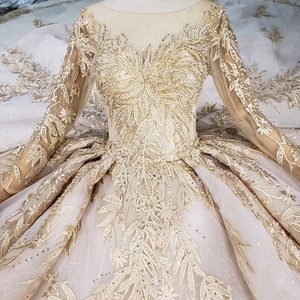 Image 5 - LS11555 فستان زفاف فاخر مع طرحة زفاف بدون ظهر اليدوية الشمبانيا الذهبي الدانتيل فستان الزفاف ثوب زفاف مع قطار طويل