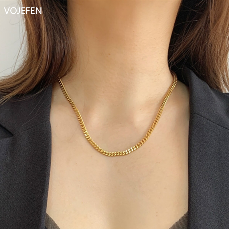 VOJEFEN AU750 18k Real Gold Chain Necklace for Women/Men, Pure Golden Big Link Choker With Fine Jewelry Gift 2021 NEW 6
