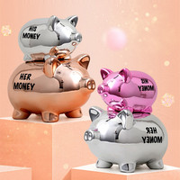 Nordic Style Art Abstract Plating Cartoon Pig Money Box Statue Animals Pig Figurine Ceramics Crafts Home Decoration R3616
