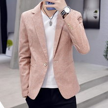 Men Blazer Spring and Autumn 2020 New Fashion Solid Color Slim Business Casual Single-button Suit for Men