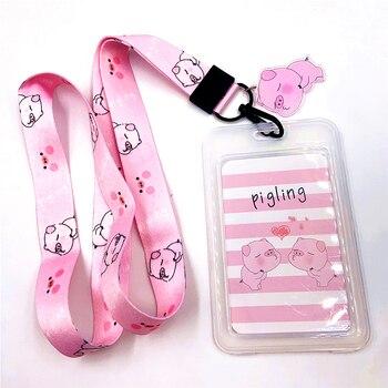 Correa para teléfono móvil con dibujos animados Kawaii Pink Pig, correa para llavero, funda de credencial de identificación, accesorios para tarjetas de crédito