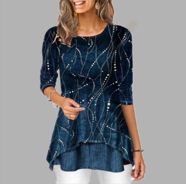 Shirt Women 2020 Spring Summer Blouse 3/4 Sleeve Casual Printing Irregularity Female fashion shirt Tops Plus Size StreetShirt 1
