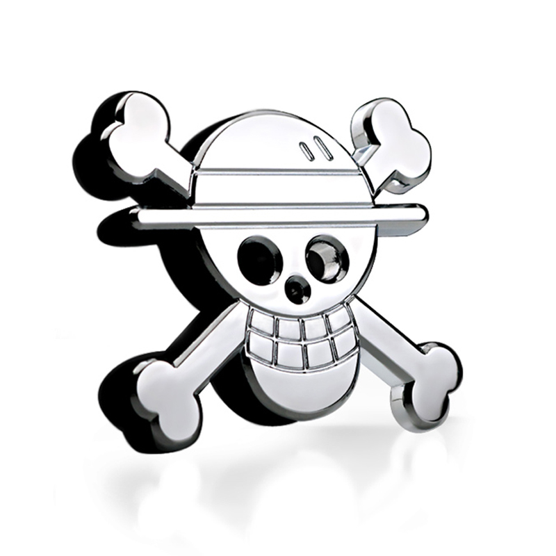 cheapest Noizzy Straw Hat Pirates Logo Metal Anime Badge ONE PIECE Car Sticker 3D Chrome Luffy Skull Boat Auto Emblem Styling Accessories