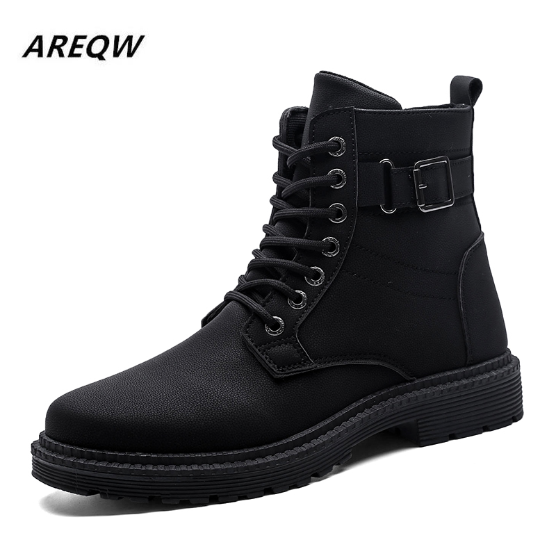2019 Mens Boots Winter Boots British Trend Men's Martin Boots Retro Boots Tide Tooling Shoes Fashion Men's Snow Shoe Work