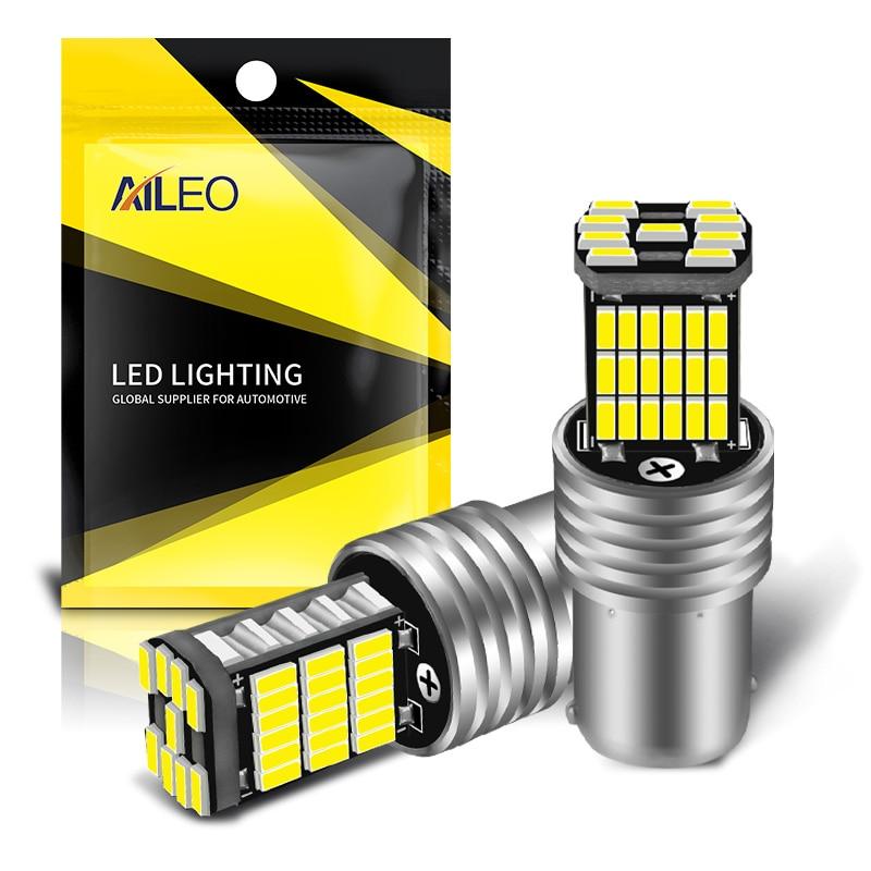 AILEO 2 adet 1156 BA15S P21W S25 7506 LED ampuller yüksek güç 45 adet 4014SMD süper parlak 1200LM için değiştirin araba geri ışık beyaz
