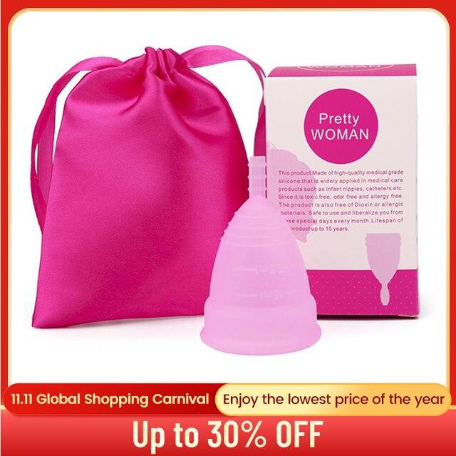 2 pièces coupe menstruelle Copita Copa menstruelle Silicone médical hygiène féminine période Silicone coupe dame femmes coupe menstruelle Colletor