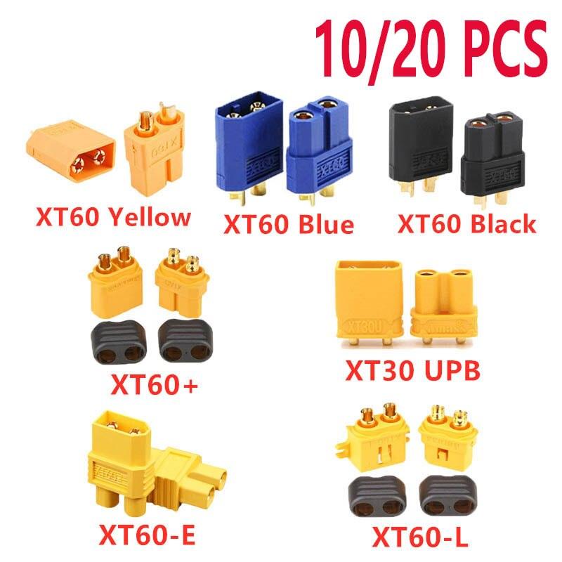 10/20PCS XT60 Black/Blue /XT60+/XT30UPB/ XT60-E/XT60-L Male Female Bullet Connectors Plugs For RC Lipo Battery Quadcopter Drone