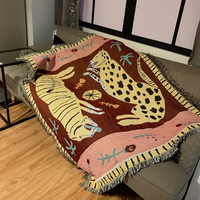 Lion and Leopard Sofa Thorw Thicken Knitting Blanket Wall Hanging Decorative Tapestries Floor Mat Piano Cover Bed Spread Cloth