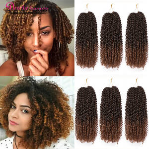 Hair-Extensions Braiding Crochet Curly Synthetic Color Ombre Brown Marley