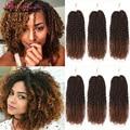Марли плетеные вьющиеся волосы, 8 дюймов, Омбре, косички для наращивания, синтетические косички коричневого цвета