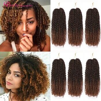 Marley warkocz kręcone szydełkowane włosy 8 cal warkocz z włosów Ombre przedłużanie włosów szydełkowe warkocze syntetyczne brązowy brązowy kolor