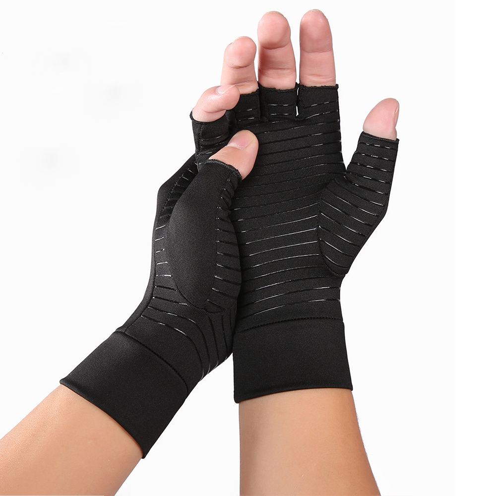 Compression Arthritis Gloves with Non-Slip Silicone Gel Open Finger Gloves For Wrist Support Arthritic Joint Pain Relief