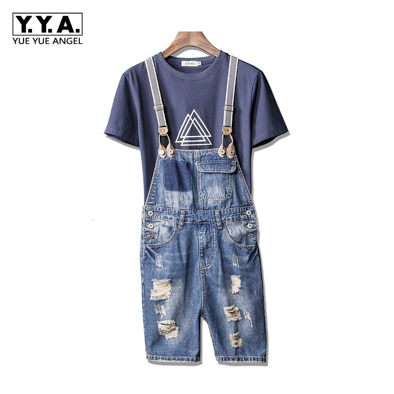 Boys Summer Casual Denim Shorts Knee Length Jumpsuits Hole Ripped Jeans Zipper Mens Shorts Streetwear Washed Denim Suspenders