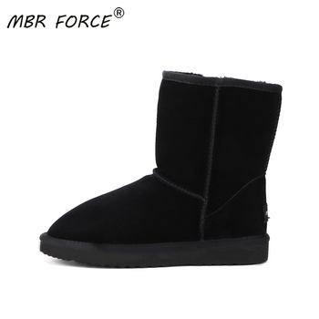 MBR FORCE classic Women Boots leather suede winter snow boots for women real Mid-Calf Boots Winter Warm for boots black shoes цена 2017