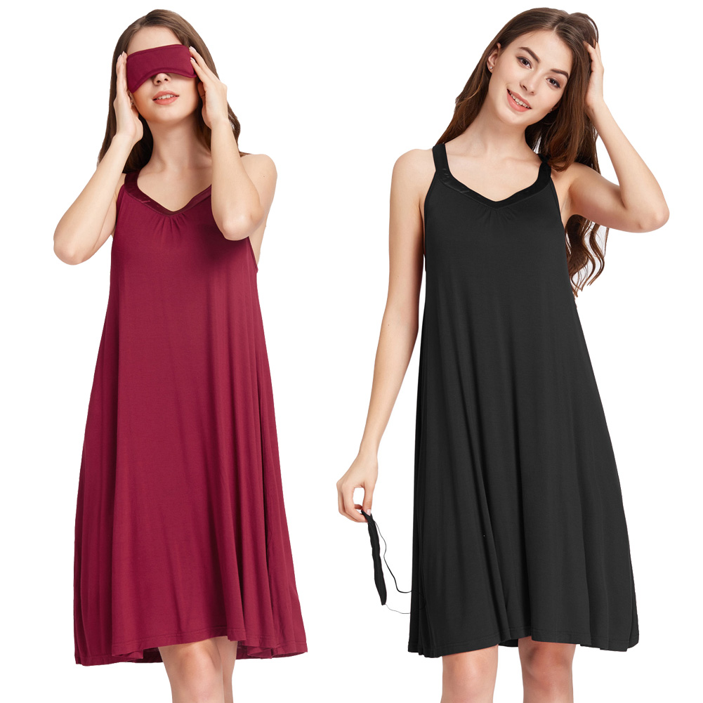 Women nightdress Sleeveless V-Neck Sleep Dress+Patch   Nightgown   Sleepwear summer sexy   sleepshirts   ladies